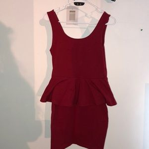 red peplum party dress